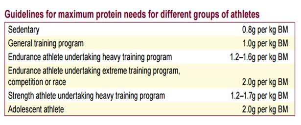Guidelines for maximum protein needs for different groups of athletes